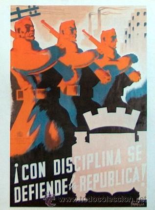Cartel de la guerra civil española: Con disciplina se defiende la República